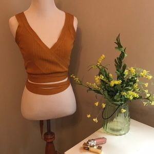 Knitted Wrap crop tank top in Mustard yellow